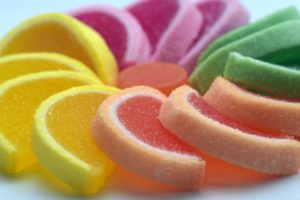 jelly fruit in different colors